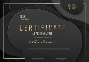 Modern Dark Certificate Layout with Golden Accent