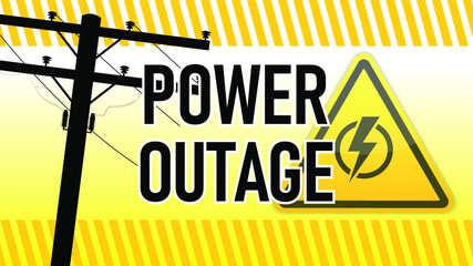 Power outage warning. Yellow and black with electric pillar silhouette . Electricity triangle sign.