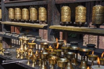 Closed up the prayer wheel at temple at Patan near Kathmandu on Nepal