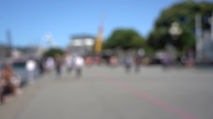 Fotomurales - Blurred video of Downtown Wellington City waterfront view in the capital of New Zealand; Slow motion