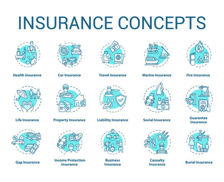 Insurance concept icons set. Protection from financial loss. Social coverage. Risk management idea thin line RGB color illustrations. Vector isolated outline drawings. Editable stroke