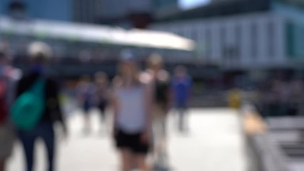 Wall Mural - Blurred video of Downtown Wellington City waterfront view in the capital of New Zealand; Slow motion