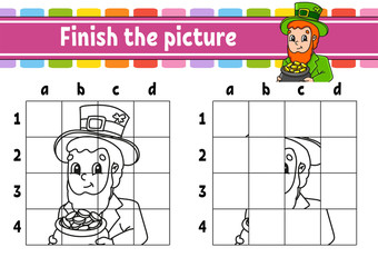 Finish the picture. Coloring book pages for kids. Education developing worksheet. Leprechaun with a pot of gold. Handwriting practice. Cartoon character. Vector illustration.