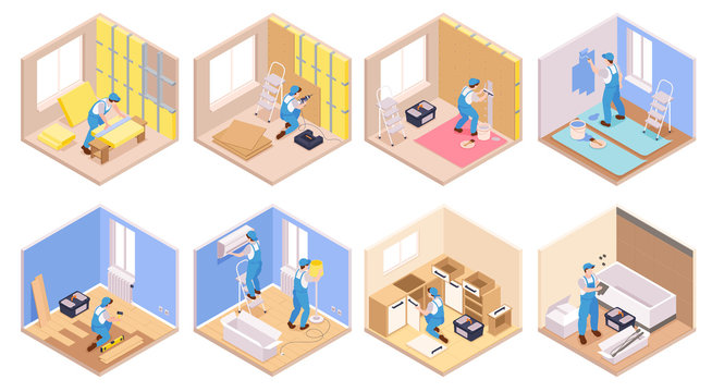Isometric Apartment Repairs Set
