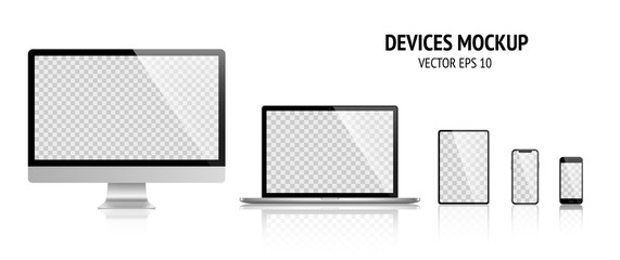Realistic devices mockup set of Monitor, laptop, tablet, smartphone dark grey color - Stock Vector.