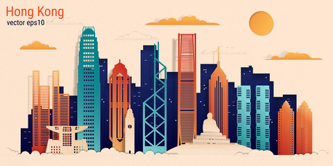 Hong Kong city colorful paper cut style, vector stock illustration. Cityscape with all famous buildings. Skyline Hong Kong city composition for design. Fotomurales