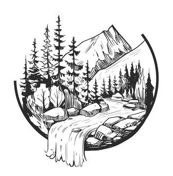 Wild natural landscape. Tattoo sketch. Transparent background. Hand drawn illustration converted to vector. Great for travel ads, brochures, labels, flyer decor, apparel, t-shirt print.