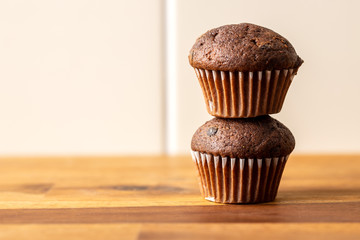 Sweet muffins. Chocolate cupcakes.