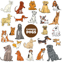 cartoon purebred dog characters large set