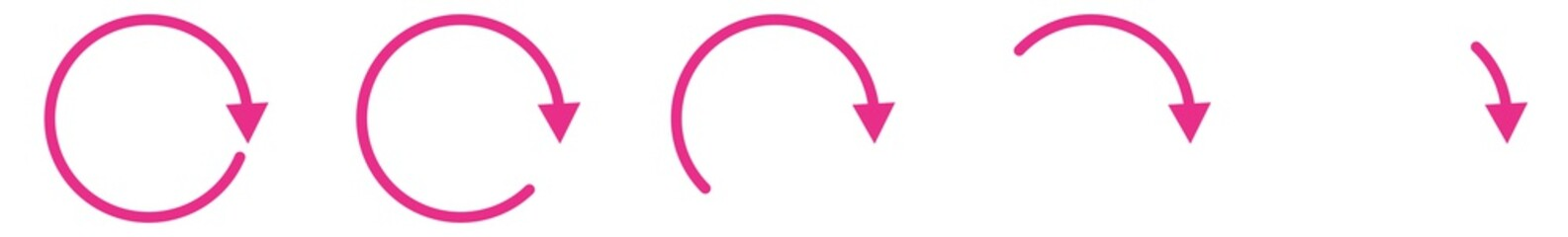 Arrow Icon Pink | Circle Arrows | Infographic Illustration | Direction Symbol | Curved Loading Logo | Up Sign | Isolated | Variations