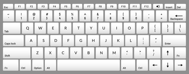Laptop keyboard computer isolated white key button board for digital pc