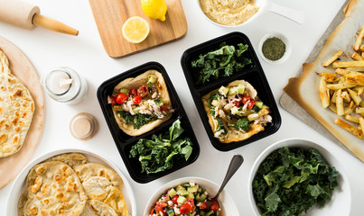 Meal Prep Food Containers with Greek Gyro on Flatbread