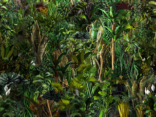 Seamless jungle horizontal pattern of exotic tropical green plants, palm tree leaves, banana trees, monstera leaves, flowers. 3D nature illustration, wallpaper, seamless summer print, dark background