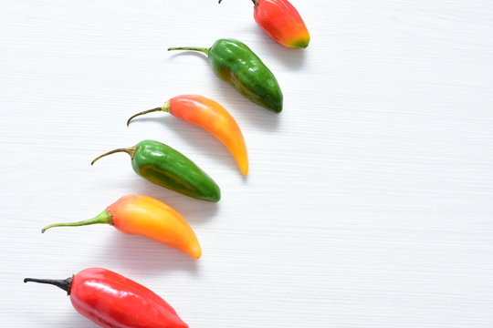 Aji variety sweet pepper in different colors