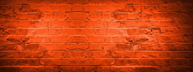 Fire red damaged rustic brick wall texture banner panorama, colorful trend color 2020