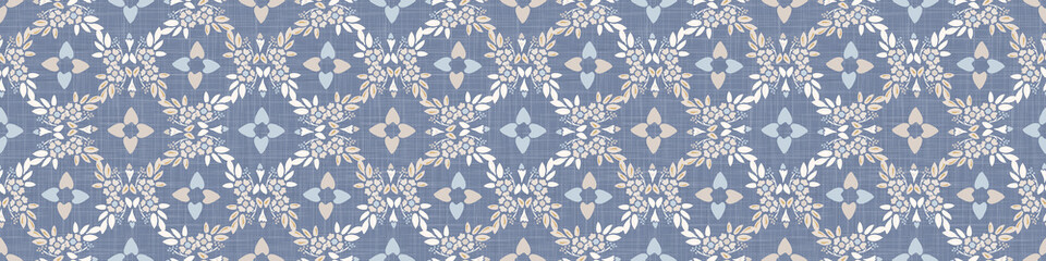 French blue damask shabby chic floral linen vector texture border background. Pretty flourish flower banner seamless pattern. Hand drawn floral interior home decor ribbon. Classic rustic farmhouse .
