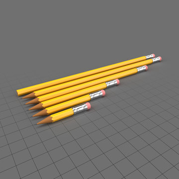 Pencils with erasers in various sizes