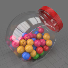 Gumballs in glass jar 2