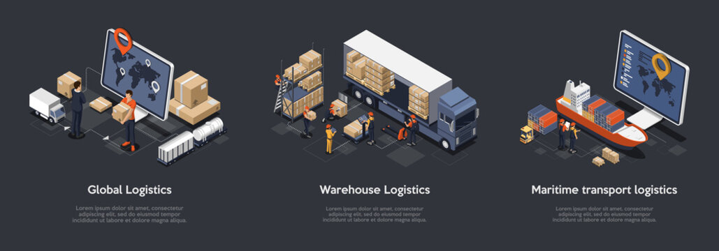 Isometric Set Of Global Logistics, Warehouse Logistics, Maritime Transport Logistics. On Time Delivery Designed To Sort and Carry Large Numbers Of Cargo. Vector Illustration
