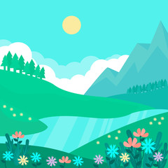 Spring natural landscape with flowers and misty mountains.Vector