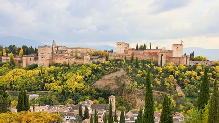 Panoramic view of the Alhambra of Granada from the Albaicin.