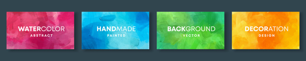 Set of high quality vector colorful watercolor backgrounds for poster, brochure or flyer