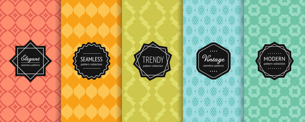 Stores à enrouleur Artificiel Vector geometric seamless patterns. Set of colorful background swatches with modern minimalist labels. Cute abstract textures collection. Elegant ornamental design. Red, orange, green, blue, turquoise