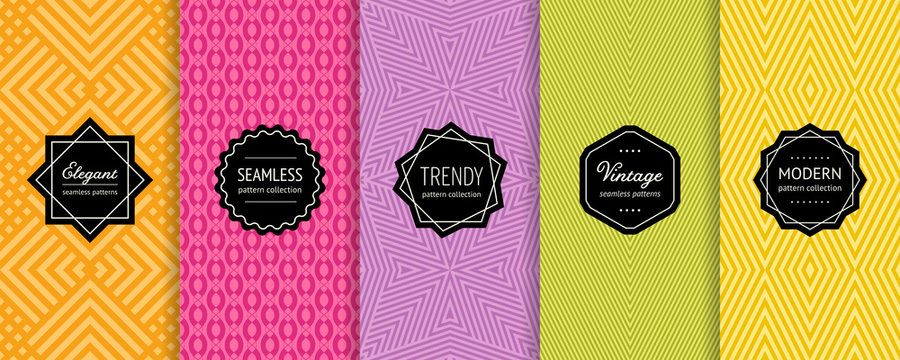 Vector geometric seamless patterns collection. Set of colorful background swatches with elegant minimal labels. Abstract striped textures. Modern design. Orange, pink, purple, green, yellow color