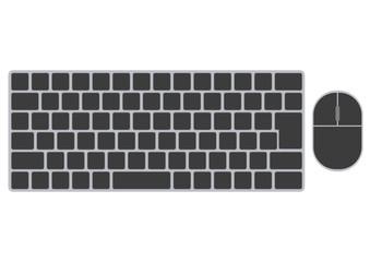 デスクトップパソコンのキーボードとマウス-黒