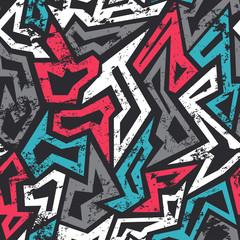 Foto auf AluDibond Graffiti colored graffiti seamless pattern with grunge effect