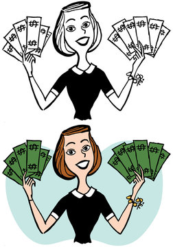 A cartoon of a smiling woman holding handfuls of cash.