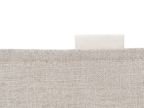 blank label and fabric texture on white background