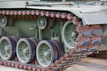 Close-up sectional view of the front side an old decommissioned military tank