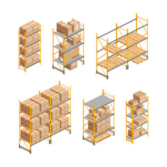 Isometric warehouse rack set with pallet, boxes isolated on white. 3d metallic shelves. Storage equipment vector illustration. Logistic and delivery service element for web, design, infographics, apps