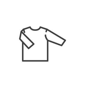 Shirt with long sleeve line icon. linear style sign for mobile concept and web design. Baby clothing, shirt outline vector icon. Symbol, logo illustration. Vector graphics