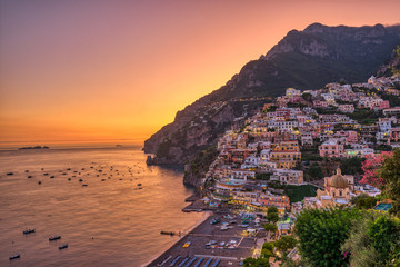 Acrylic Prints Coast The famous village of Positano on the italian Amalfi coast after sunset