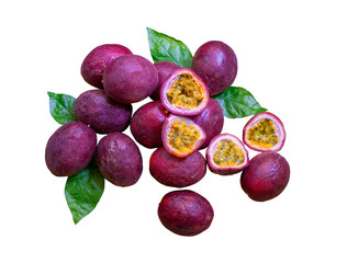 A group of purple skin passionfruit plant, sliced and round fruits isolated on white background, die cut with clipping path, top view image