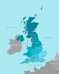Vector modern illustration. Simplified geographical  map of United Kingdom of Great Britain and Northern Ireland (UK). Blue background of North Sea, North Atlantic. Names of cities, regions