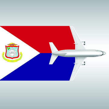 Plane and flag of Saint Martin. Travel concept for design