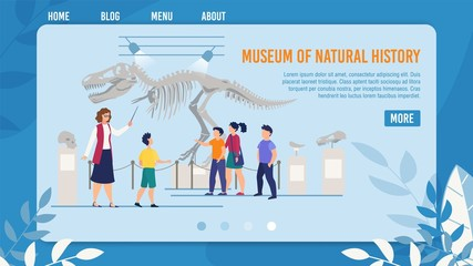 Webpage Presenting Natural History Museum for Kids. Landing Page Template for Digital Devices. Guide Showing Children Group Prehistoric Times Dinosaur Skeleton and Bones. Vector Illustration