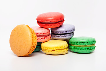 Sweet and colourful macaroons or macaron on white background, Desert.