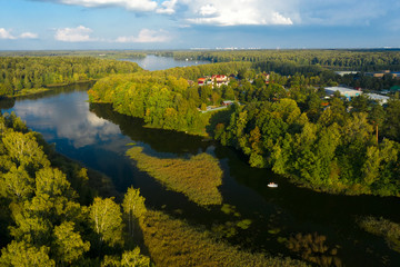 Aerial View Of The Pyalovsky Reservoir Bay In The Autumn Evening