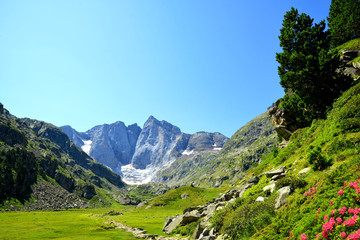 Mountain landscape with Vignemale massif in the national park Pyrenees. Occitanie in south of France.