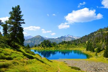 Beautiful mountain landscape in Neouvielle national nature reserve, Lac de Bastan inferieur, French Pyrenees.