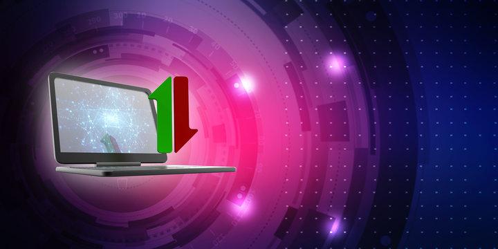 3d illustration uploading downloading arrow in laptop