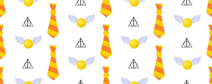 Seamless vector pattern. Children's design. Gryffindorf characters. The tie is striped. Orange and yellow. Magic Snitch..