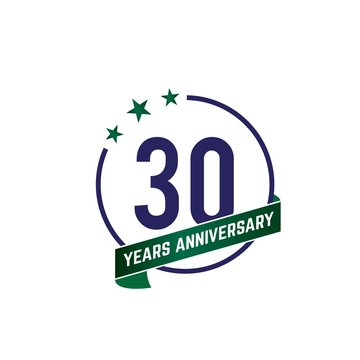 30 years anniversary logo with blue circle frame and green ribbon