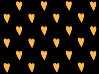 Blurry yellow lights in the shape of heart. Seamless pattern. Defocused street decorations and...