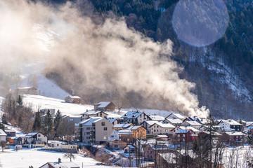 House on fire in Haslen, Glarus Süd