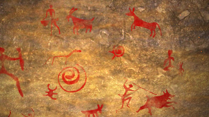 Primitive ancient picture in a brown cave